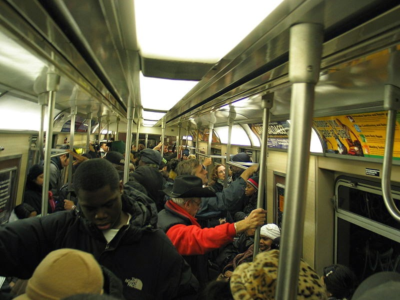 A crowded subway.