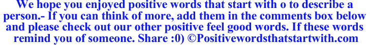 Image of Positive words that start with o to describe a person