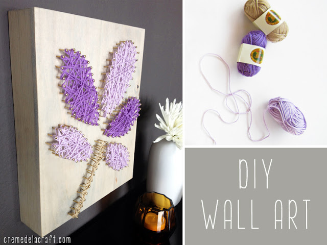 diy wall art from yarn nails. Black Bedroom Furniture Sets. Home Design Ideas