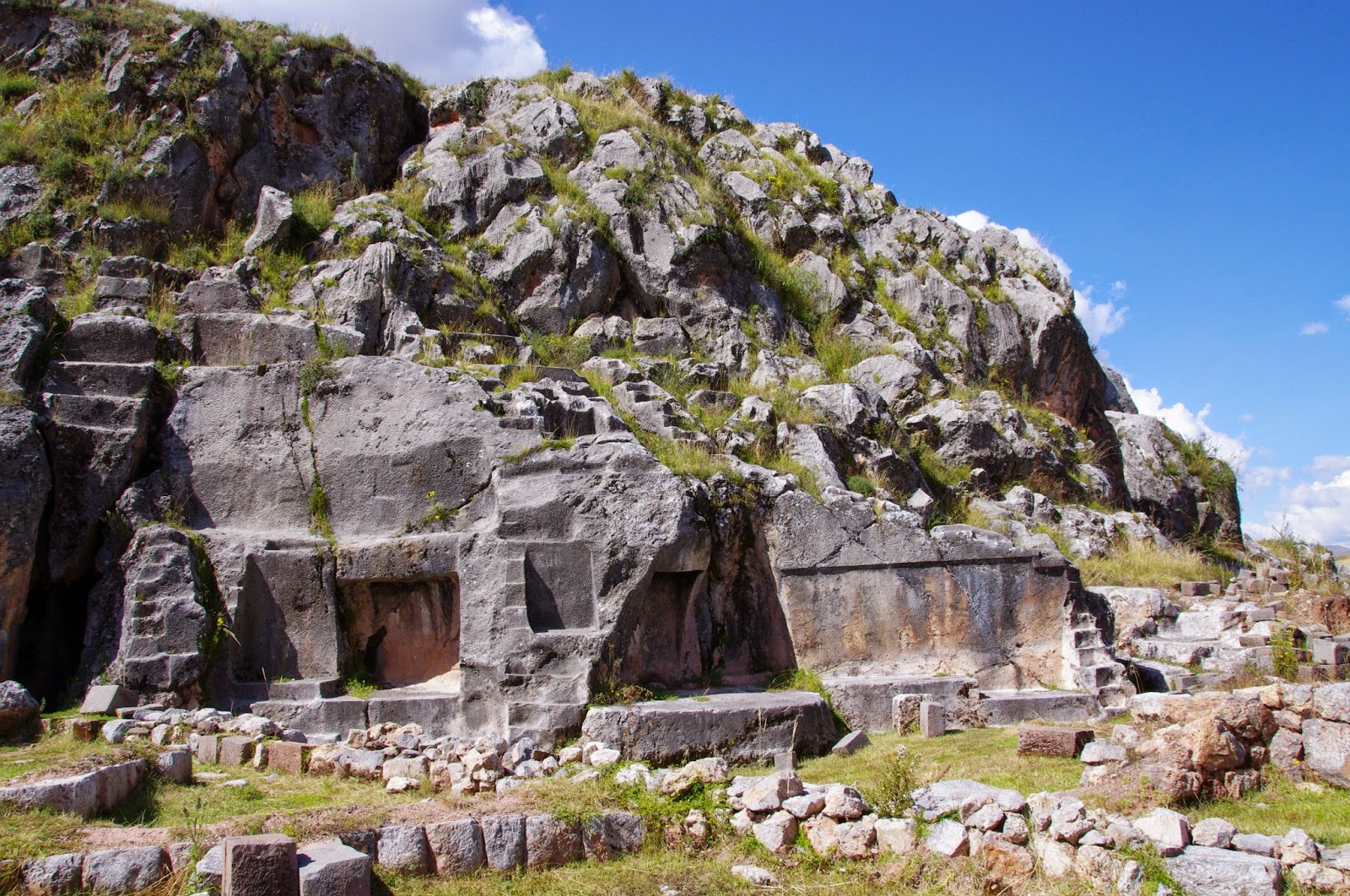 A view of the Temple of the Moon, from the outside, carved into a rocky  outcrop a short distance from Q'Enko. It is possible to see what were  clearly the ...