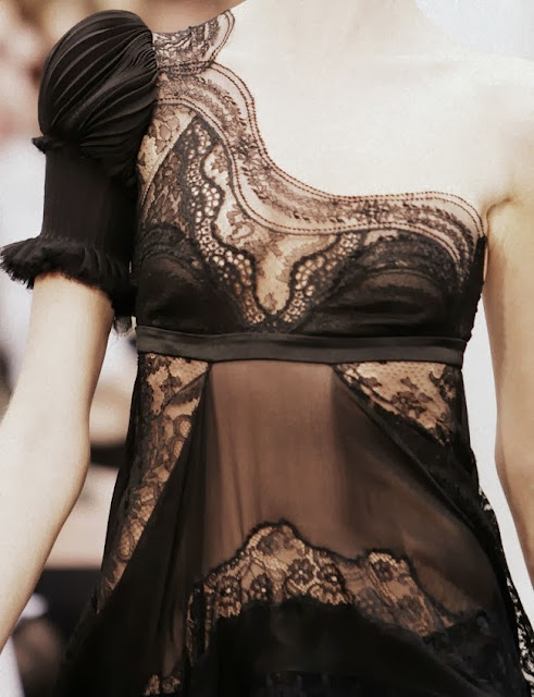 One Shoulder Black Lace Dress