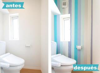 listra decorativa na parede do banheiro