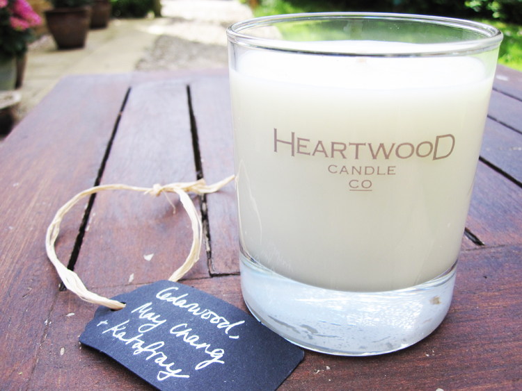 A picture of Heartwood Candle Company in Cedarwood, May Chang & Katafray
