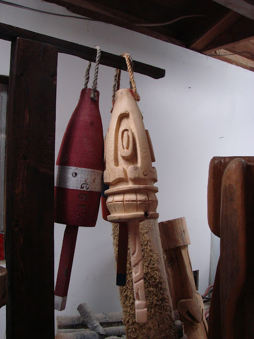 This one will have red and clear, similar to the uncarved buoy on the left.