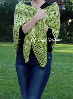 Green Shawl Crochet Pattern, $3.29