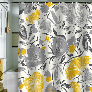 Yellow And Gray Big Flower Shower Curtain