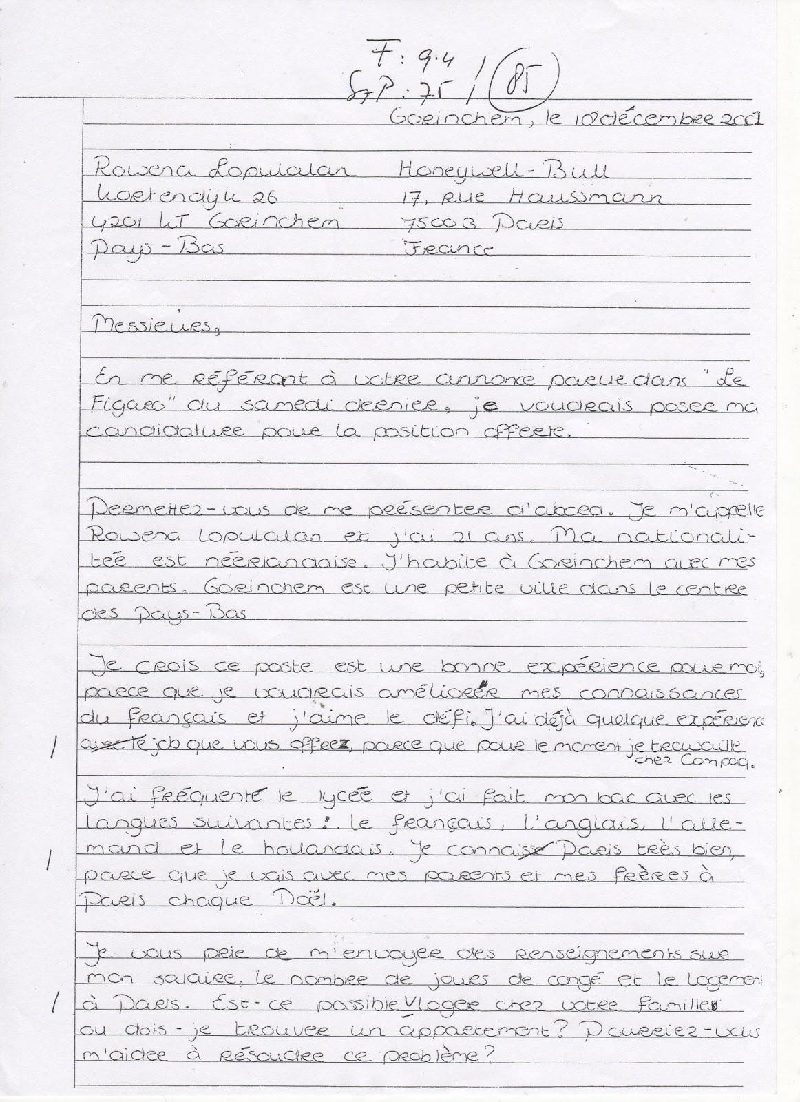 Samenvattingen: Fransbrief voorbeeld en veelgemaakte fouten (klas 5)