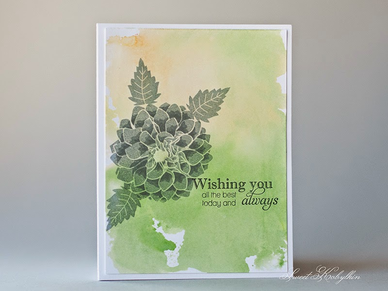 Greeting Card with Papertrey Ink Delightful Dahlia. Sweet Kobylkin
