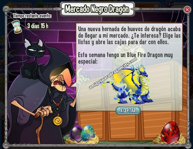 imagen de blue fire dragon en el mercado negro del dragon