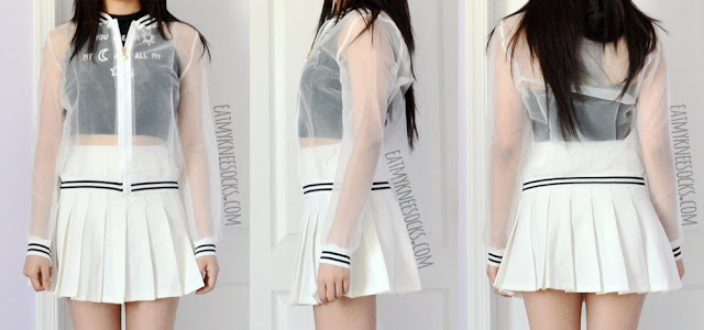 Front, side, and back views of the sheer striped-trim organza bomber jacket from Dresslink, worn with a white tennis skirt and black halter crop top.