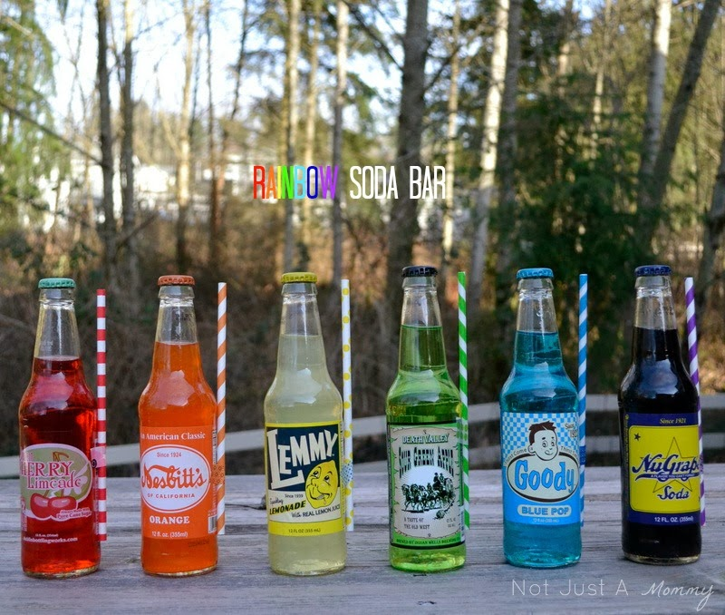Rainbow Soda Bar with bottles from Cost Plus Market