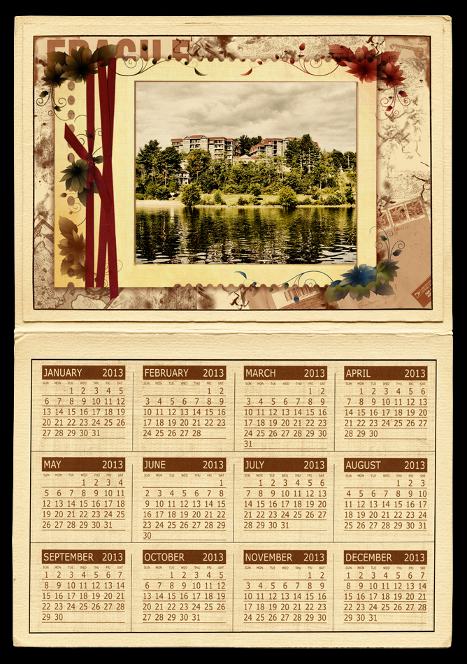 Vintage Calendar Template : Photography raphy yearly calendar photo template