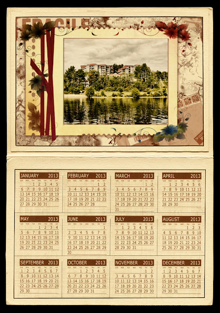 sample of a vintagle floral grungy 2013 calendar with photo frame template
