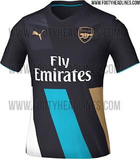 gambar detail bocoran jersey musim depan Bocoran jersey Arsenal third musim depan 2015/2016 di enkosa sport