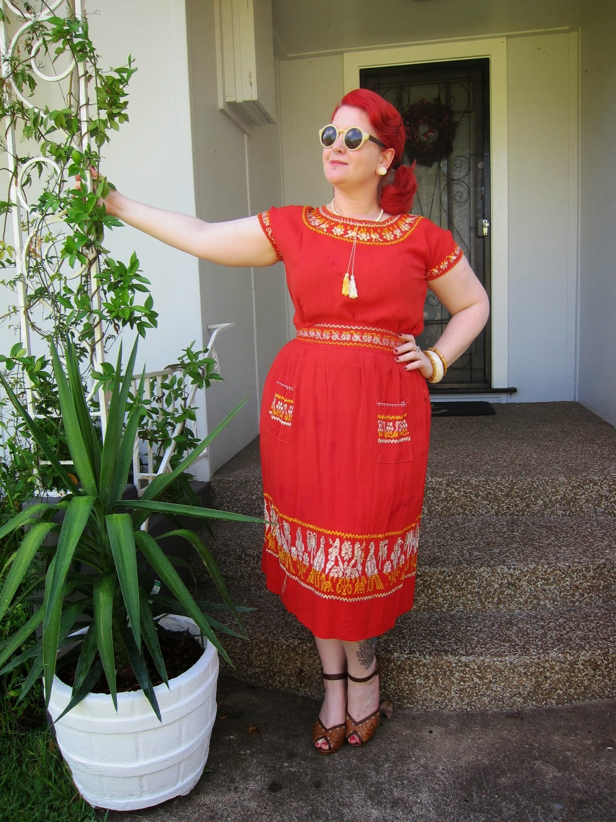 mexican tourist set plus size rayon 1940s dress