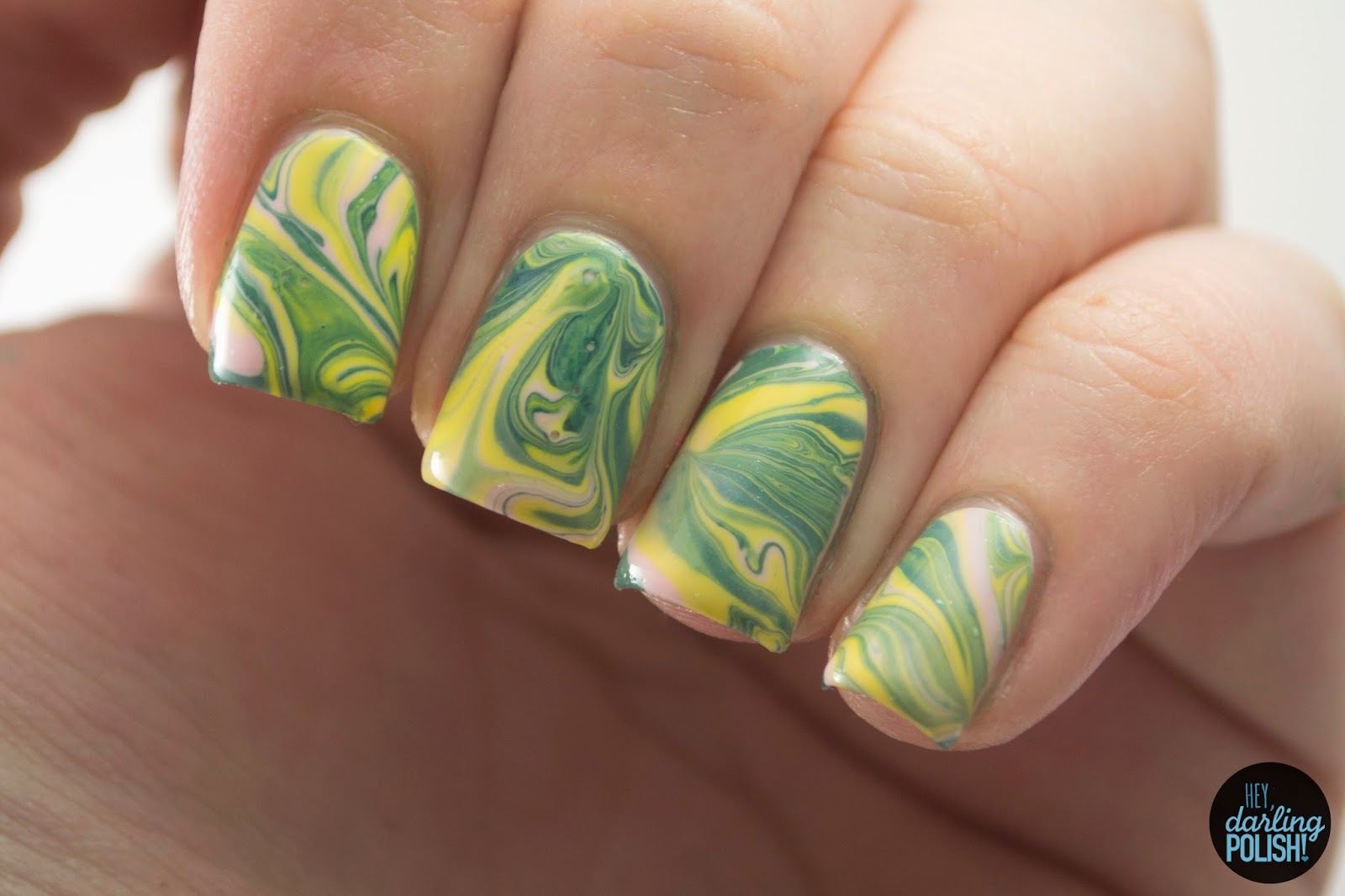 nails, nail art, nail polish, polish, yellow, blue, pink, watermarble, hey darling polish, tri polish challenge, tpc