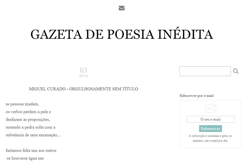 O Inatingível 2018 no projeto 'Gazeta de Poesia Inédita'