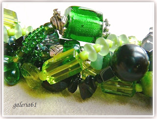 Naszyjnik zielony i czarny - szkło, koraliki, porcelana, masa perłowa