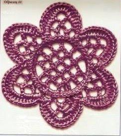 #703 Patrón de Flor tejida a Crochet