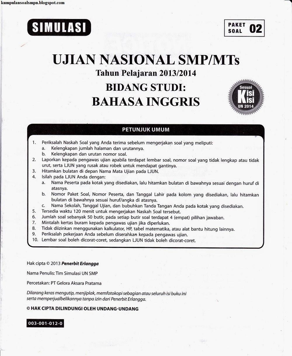 Simulasi Un Bahasa Inggris Smp 2013 2014 Kumpulan Soal Dan Prediksi Ujian Nasional Smp Negeri