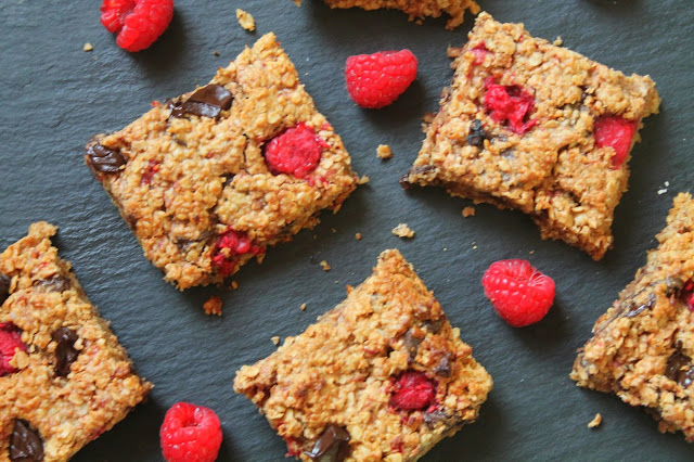 Raspberry Dark Chocolate Flapjacks
