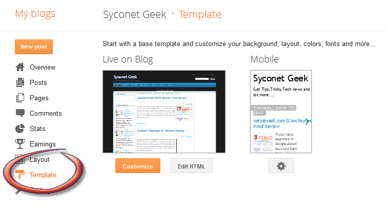 Upload Template in New Blogger Interface | Syconet Geek