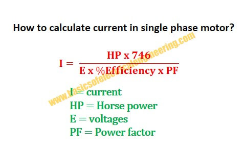 Formula to find the current in Single phase AC Electrical Motor ...