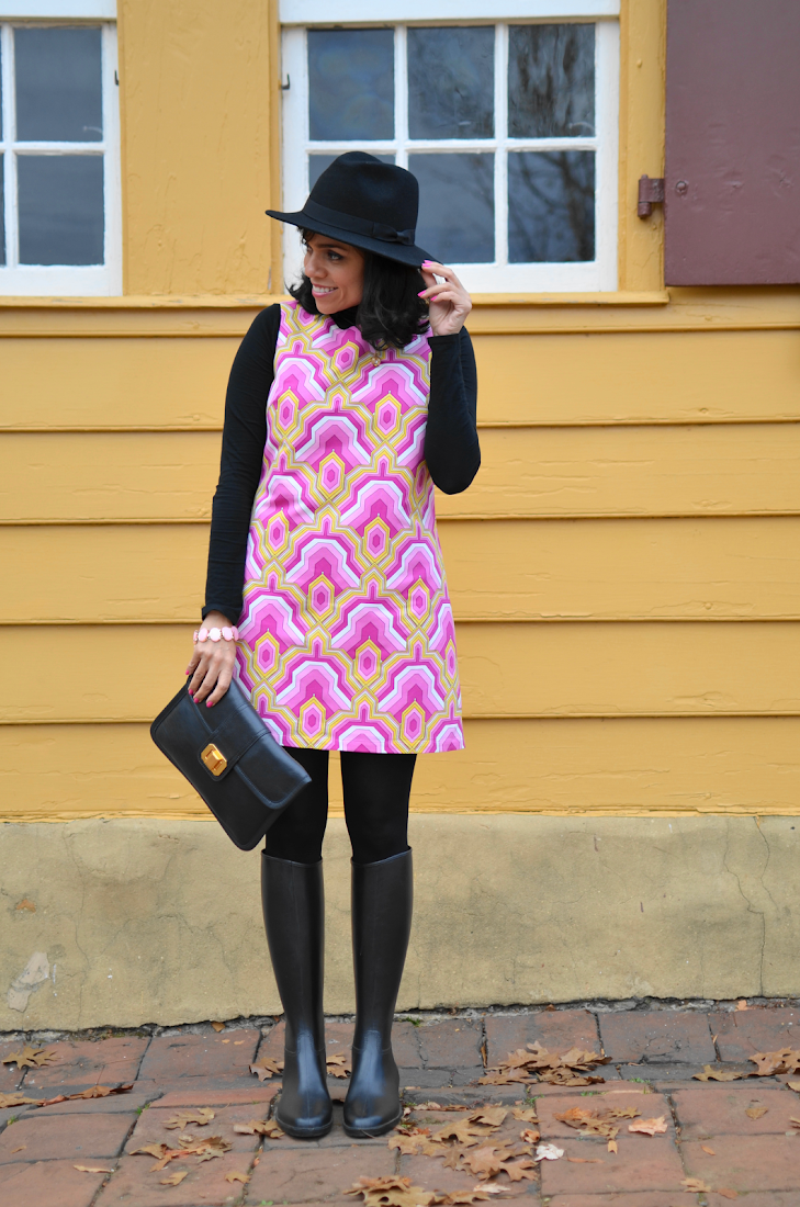 Pink Shift Dress Rain Boots Outfit