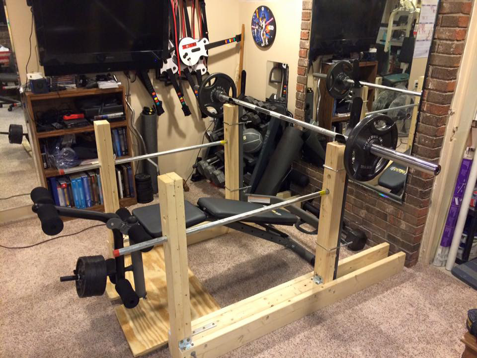 Charming Squat / Bench Stand With DIY Spotter Catchers Without Stain, Sanding, And  Extra Diagonal Supports