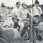 Steven McQueen and James Garner celeb on motorcycles