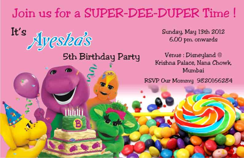Birthday party invitation card invite personalised return gifts barney theme birthday party invitation printed can be customised as per your content also available with pop up email me partycards100gmail bookmarktalkfo Gallery
