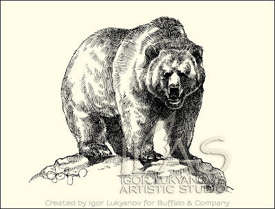dessin ours brun grizzli