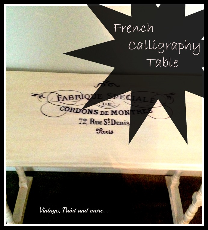 Vintage, Paint and more... thrifted table painted with chalk paint and stenciled with French label for a sewing table