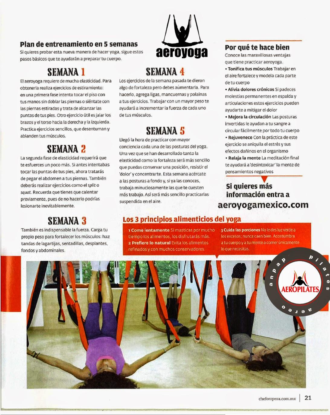 PILATES AEREO, AERO YOGA AEREO PRENSA Y TV, TENDENCIAS, REPORTAJES, ARTICULOS
