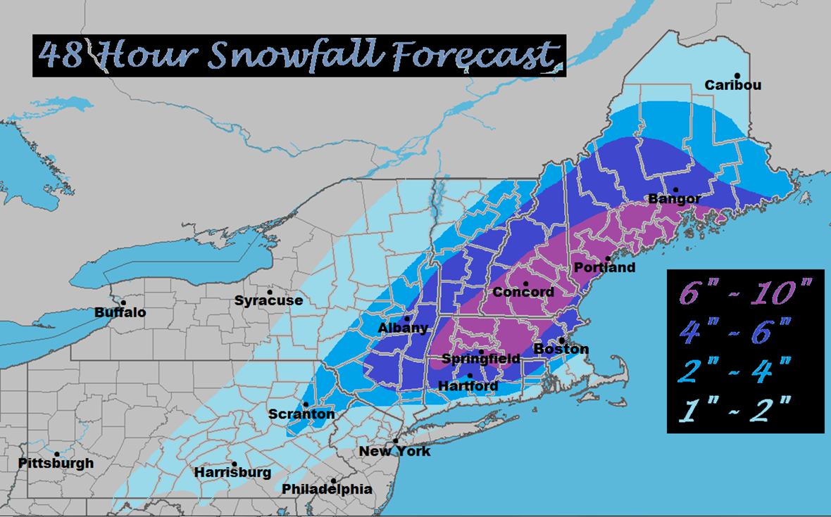 Northeast Weather Action 48 Hour Snowfall Totals Forecast Map