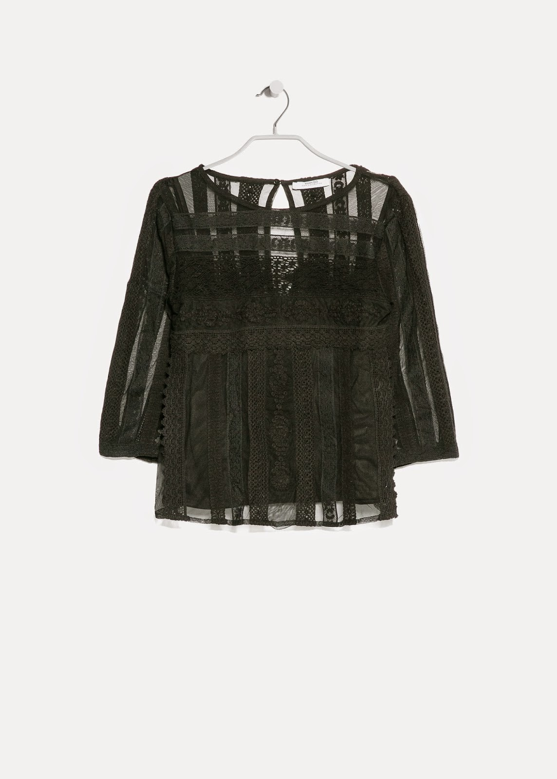 mango black embroidered blouse, mango black gypsy top, mango lace black top,