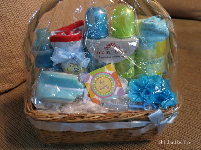 Blue Green Yellow Baby Shower Gift Basket