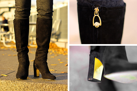 Anne Klein Tall Neta Black Suede Boots