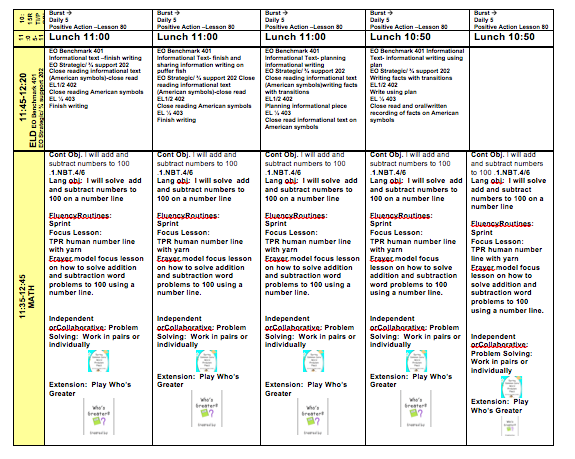 first grade lesson plans week long plans