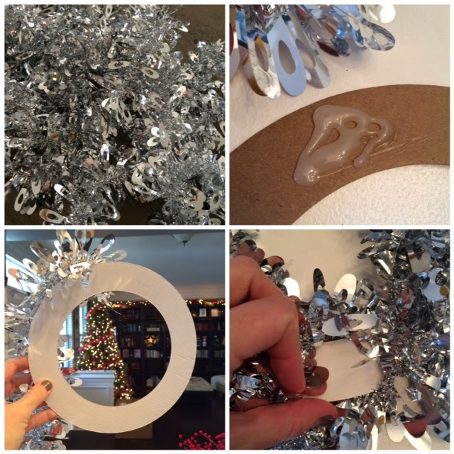 DIY Silver Tinsel Wreaths - LeroyLime