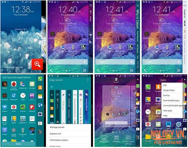 Giao diện của Galaxy Note Edge Docomo
