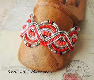 Micro macrame bracelet in white, gray and red by Sherri Stokey