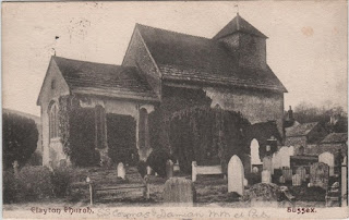 Vintage postcard of Clayton Church, Sussex, c.1907