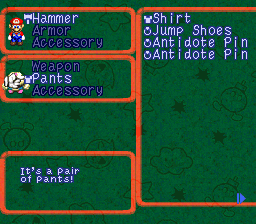 Super Mario RPG equip screen