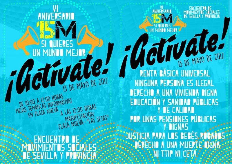 """¡ACTÍVATE! 13 MAYO: 10-12h Mesas temáticas en Plaza Nueva. 12h Manifestación hasta """"Las Setas""""."""