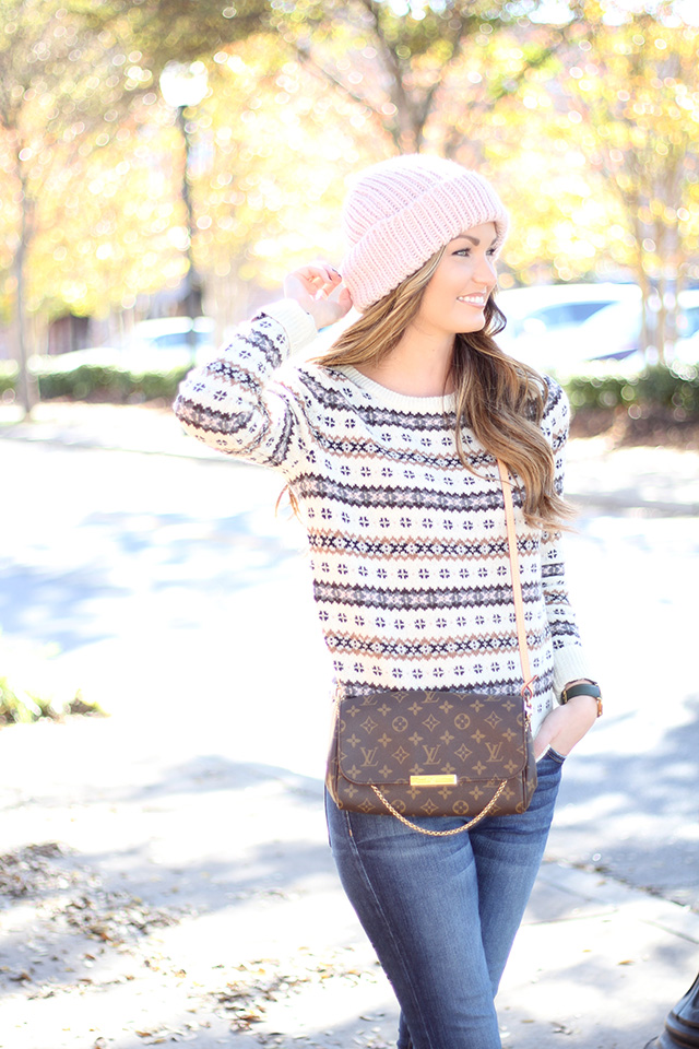 louis vuitton favorite mm. sweater: j.crew {i\u0027m wearing a small} | jeans: current/elliott handbag: louis vuitton \u0027favorite mm\u0027 {super similar} booties: vince {also here + similar favorite mm