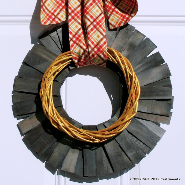 Craftiments:  Autumn wood shim wreath closeup