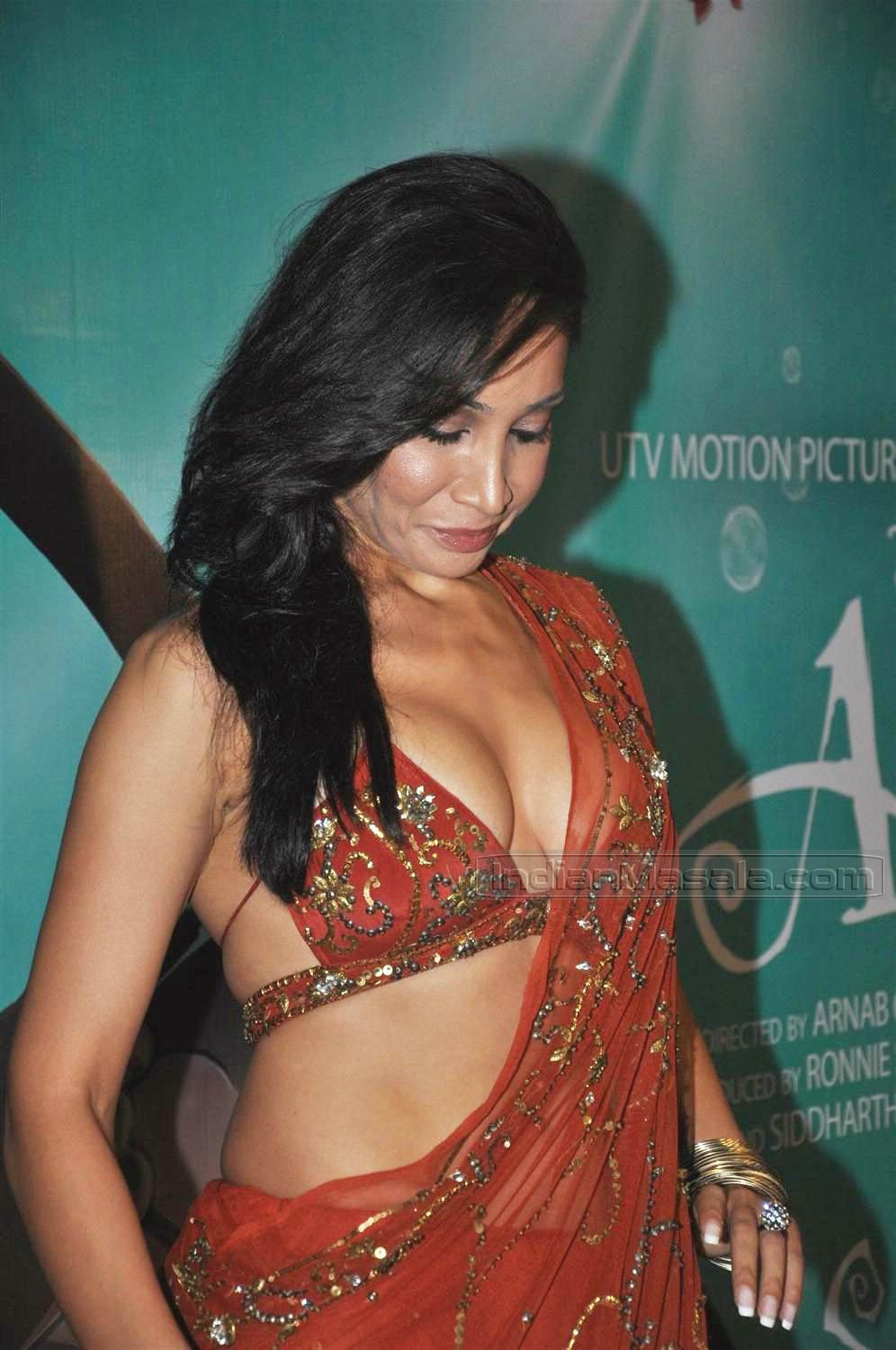 Sofia Hayat In Saree Hot Deepest Cleavage Slip At Arjun Premiere Pics