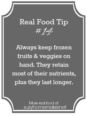 real food tip 14 - frozen fruits & veggies | suzyhomemaker.net