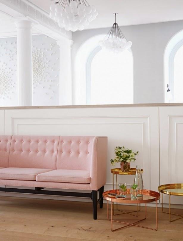 decoracion restaurante moderno rosa palo